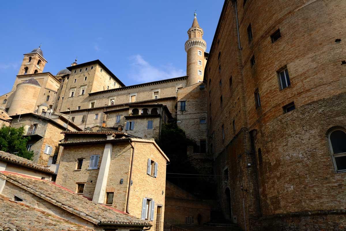 sandstone medieval buildings in urbino italy