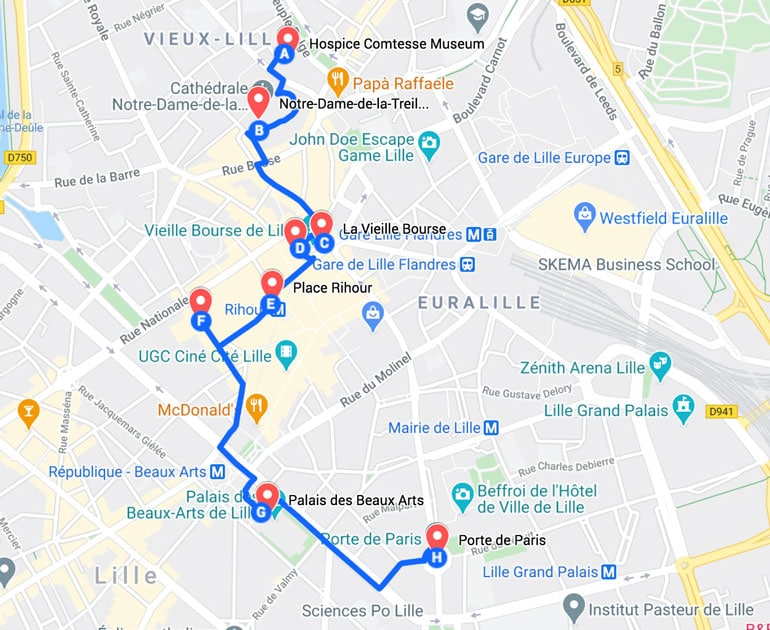 map of the best places to see in Lille in one day as a walking tour