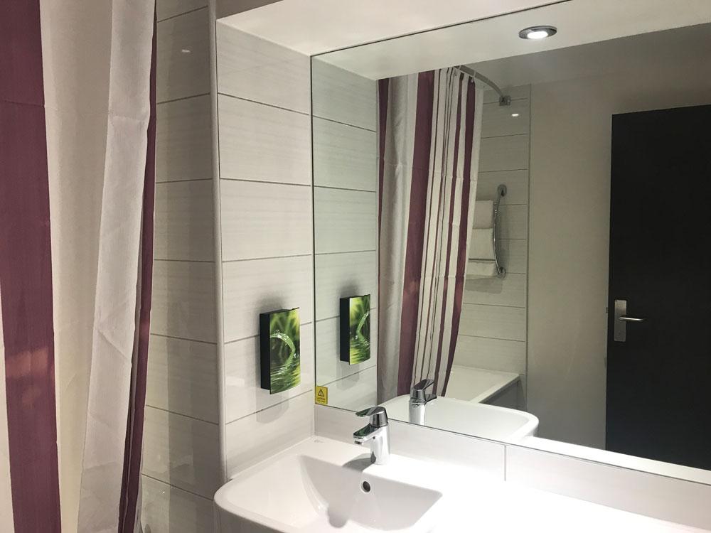 sink and vanity unit in premier inn hotel room