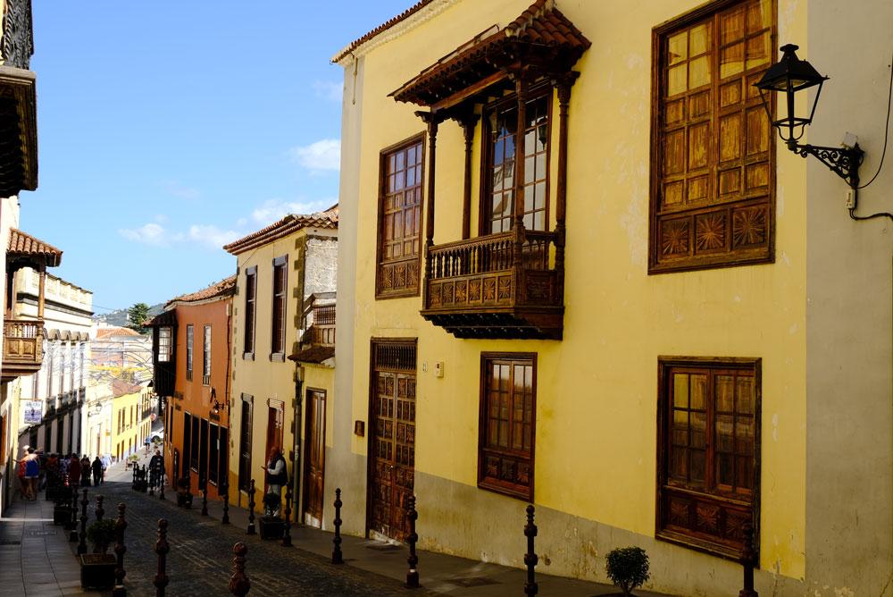 decorative wooden balconies on street in la orotava tenerife