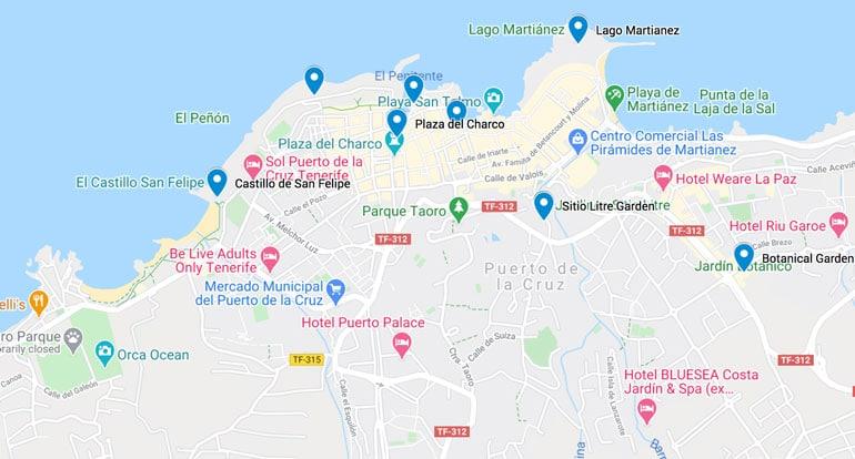 map of the best-things-to-do-in-puerto-de-la-cruz-tenerife