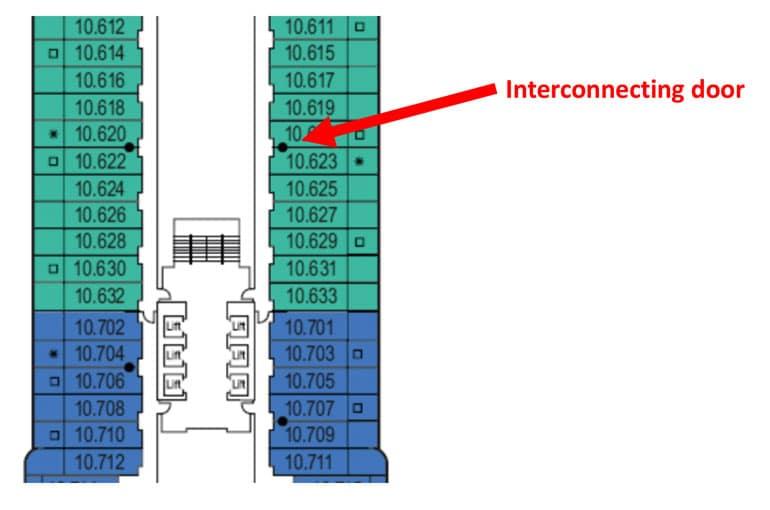 cruise ship deck-plan-showing-interconnecting-door