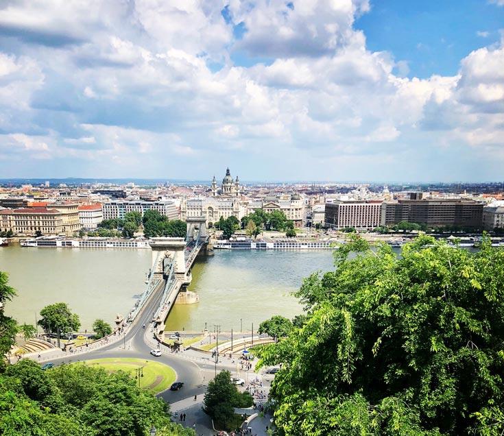 Budapest skyline and river