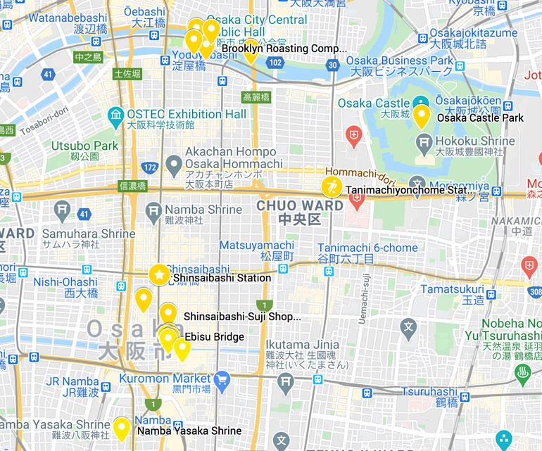 osaka-one-day-itinerary-map