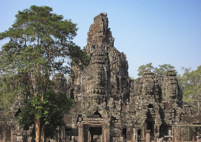 carved faces in Bayon Temple, Cambodia