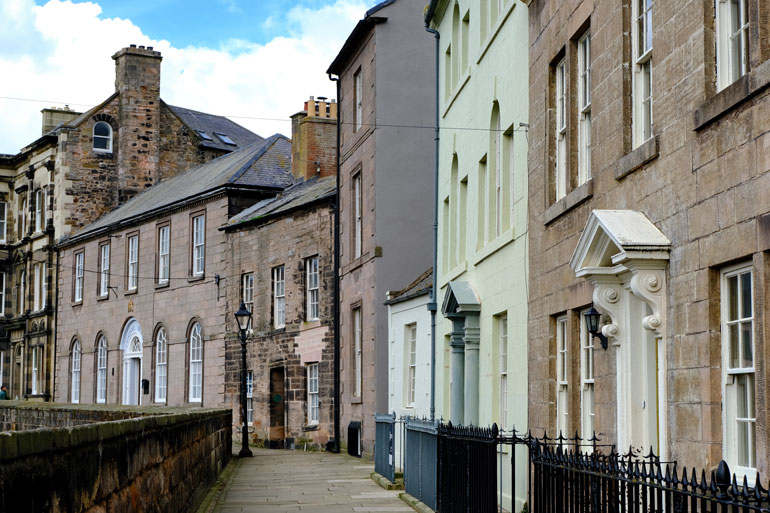 old buildings along the ramparts of berwick upon tweed
