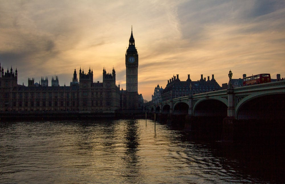 houses of parliament and big ben at sunset