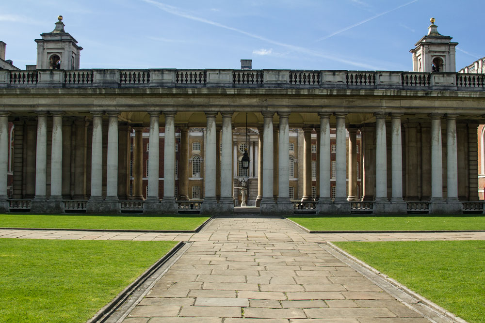 path leading to front of colonnaded building in greenwich