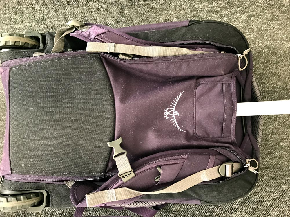 straps at the rear of the backpack osprey fairview 36 wheels