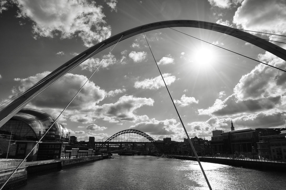 bridges across the river tyne seen during a weekend in newcastle