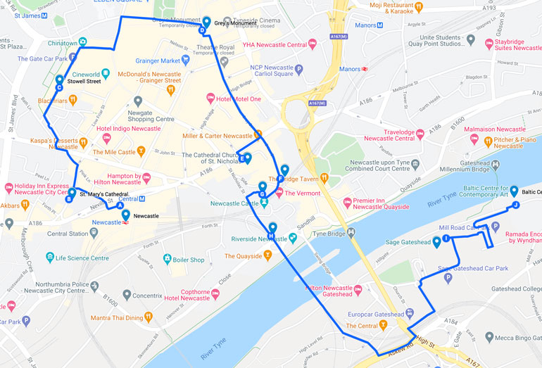 MAP OF A SELF-GUIDED WALKING TOUR OF NEWCASTLE UPON TYNE