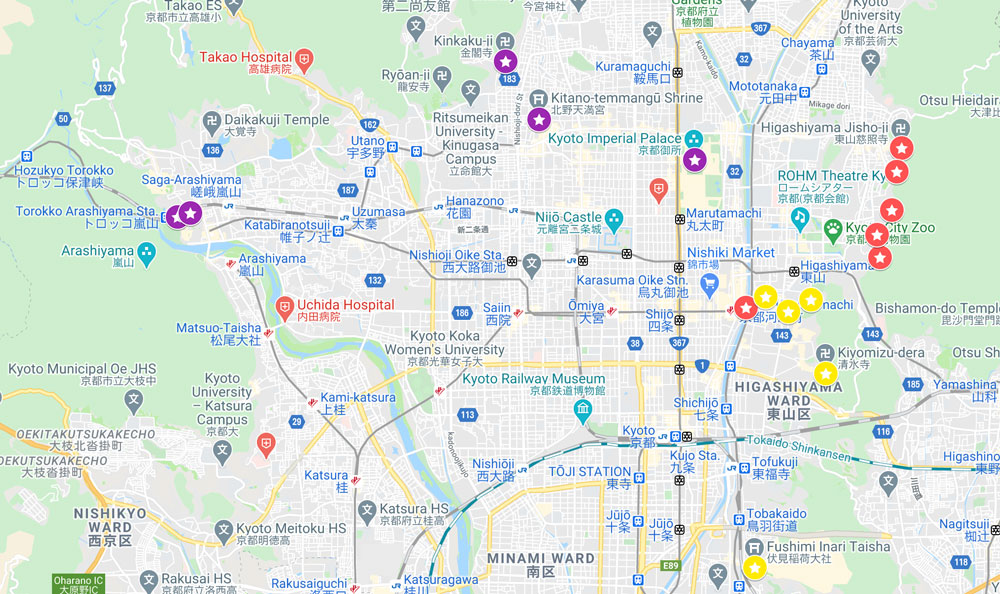 map of best places to see in kyoto in three days included in 3-day kyoto itinerary