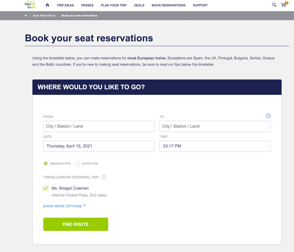screen shot of seat reservations online booking using interrail pass in europe
