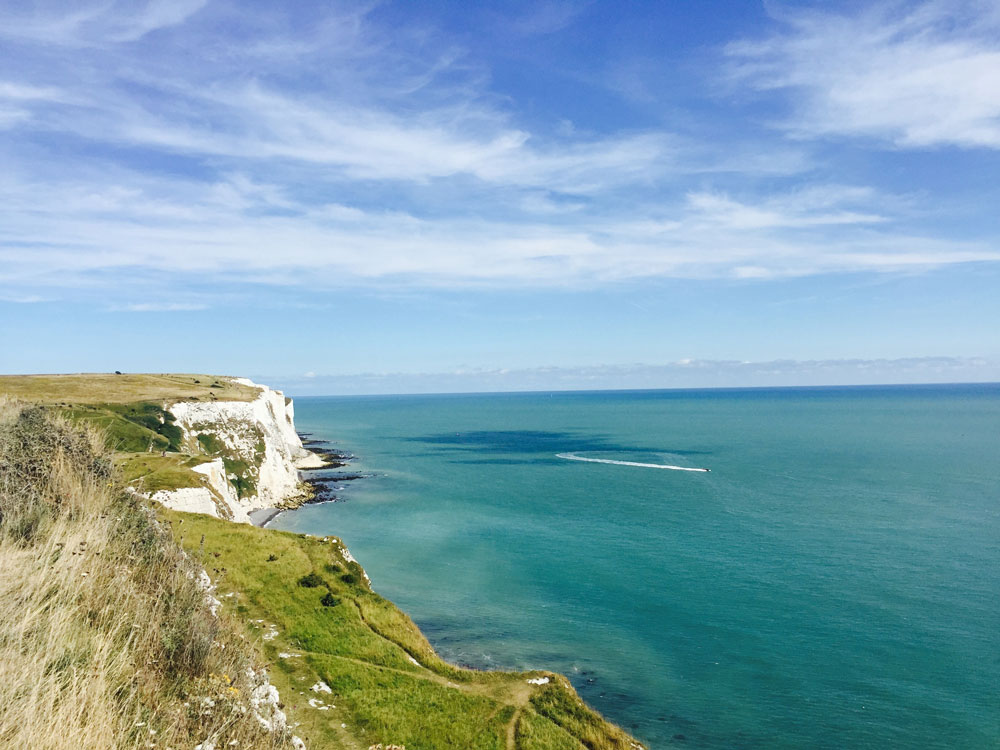 white cliffs of dover on kent coast
