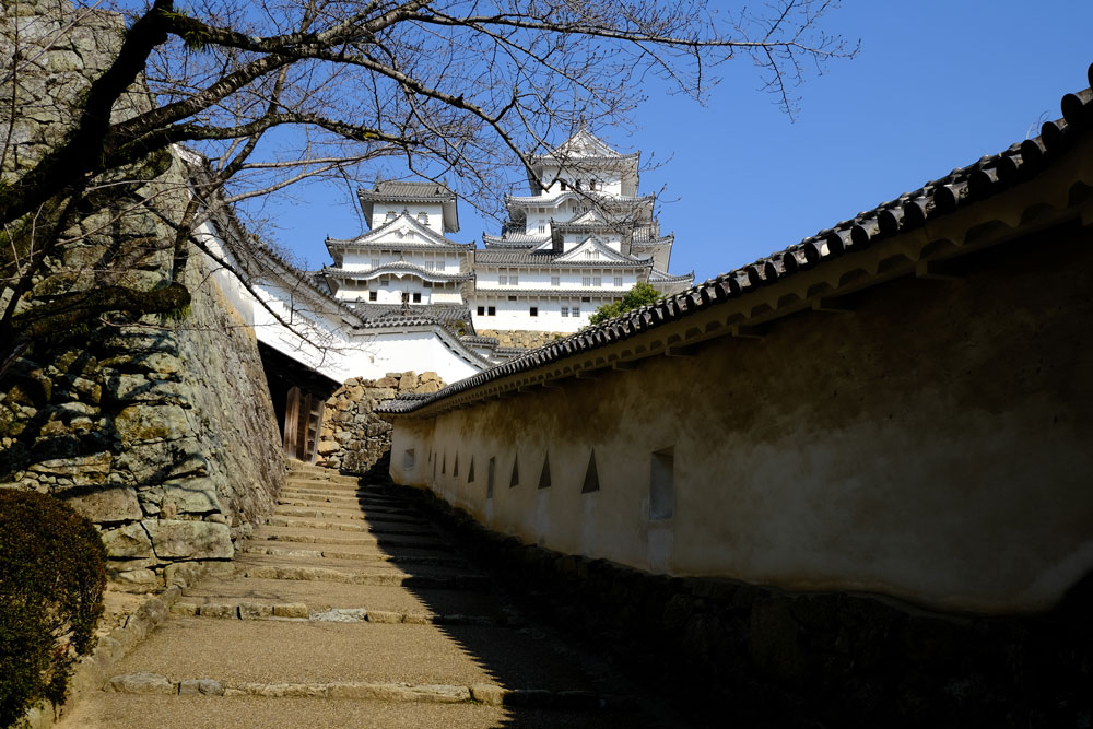 sweeping path and steps leading up to himeji castle