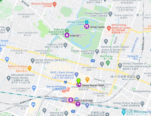 map of the best places to see in himeji in one day