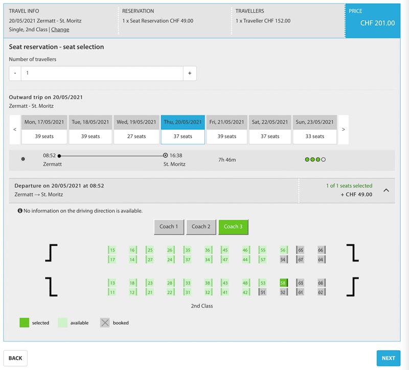screenshot of glacier express seat reservation