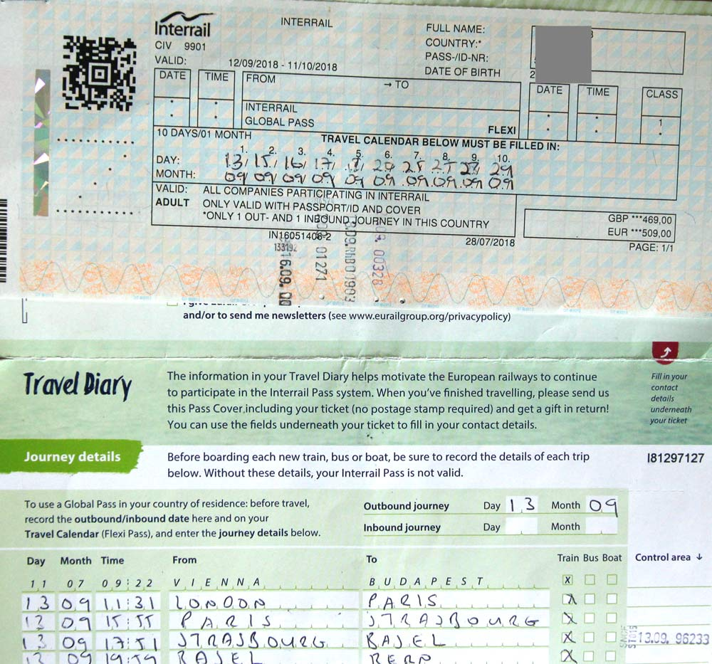 inside of paper interrail pass showing ticket and filled in travel diary