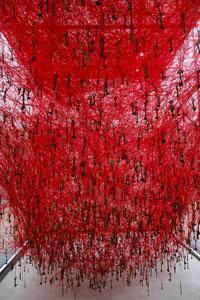 bright red art installation in kanazawa japan