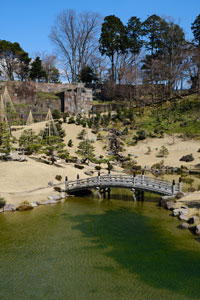 traditional japanese garden with pond and small bridge