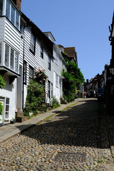 cobblestone street lined with half-timbered houses in rye