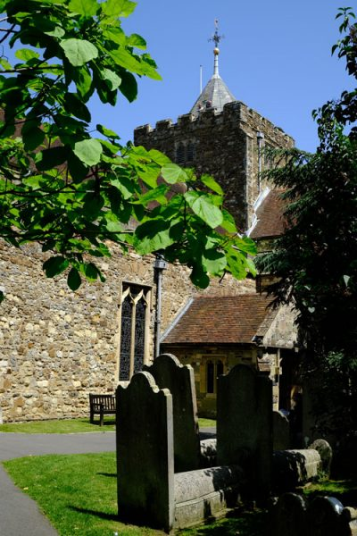graveyard in front of church in rye