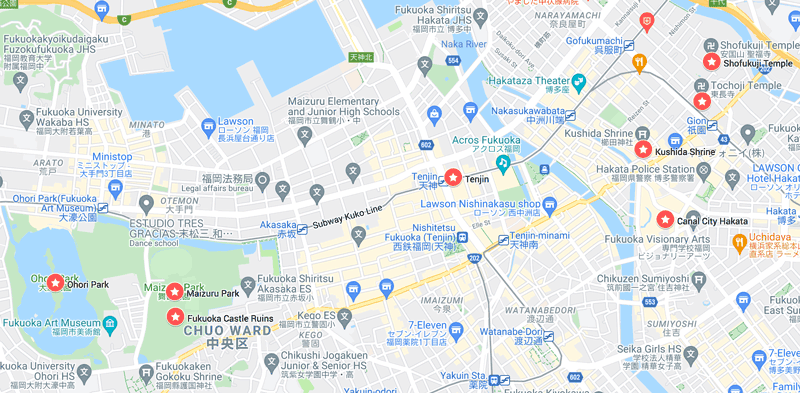map-of-best-things-to-do-in-fukuoka-on-a-one-day-itinerary