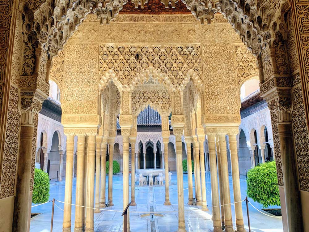 marble and gilt courtyard at alhambra palace