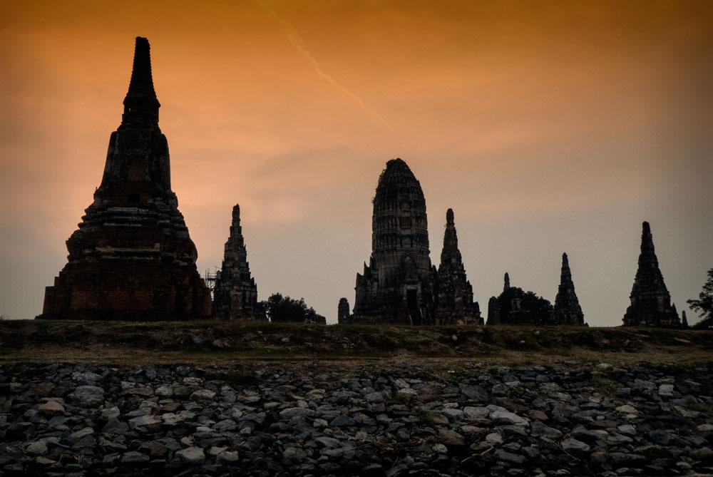 ayutthaya temple spires at sunset