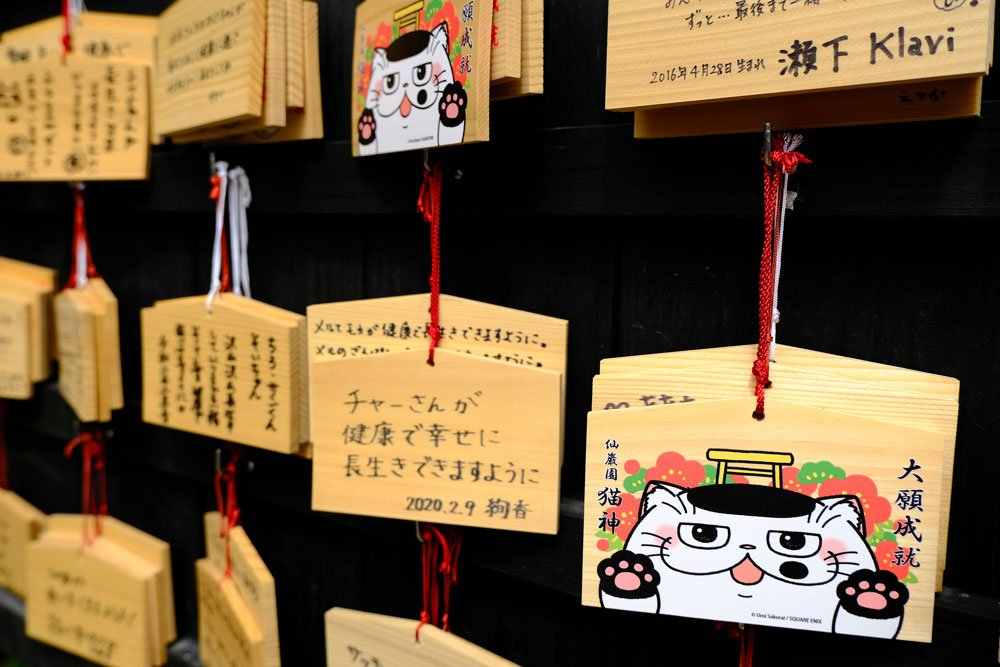 prayer tablets with cat illustrations