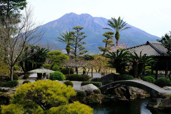 japanese-garden-in-front-of-volcanic-peak