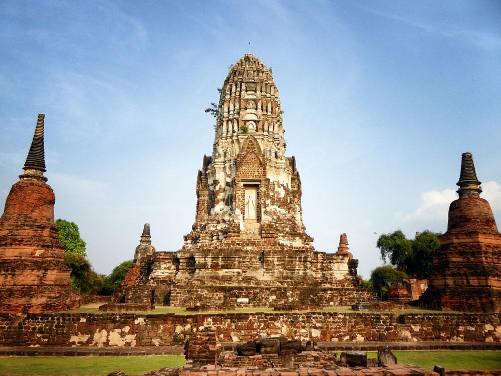 temple spires in ayutthaya thailand