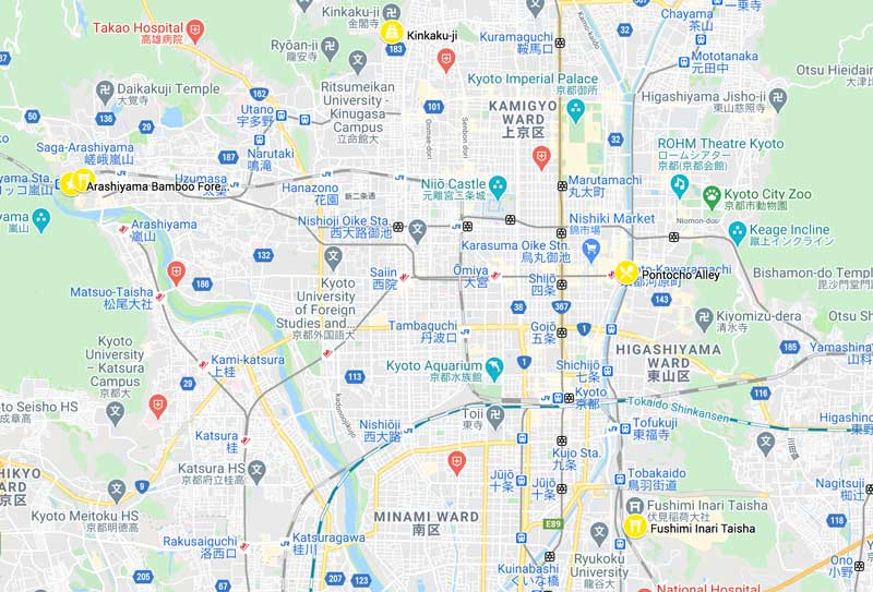 map of places to see on the second day of 2 days in kyoto