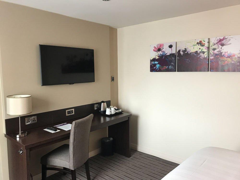 desk area in room at premier inn leeds city centre