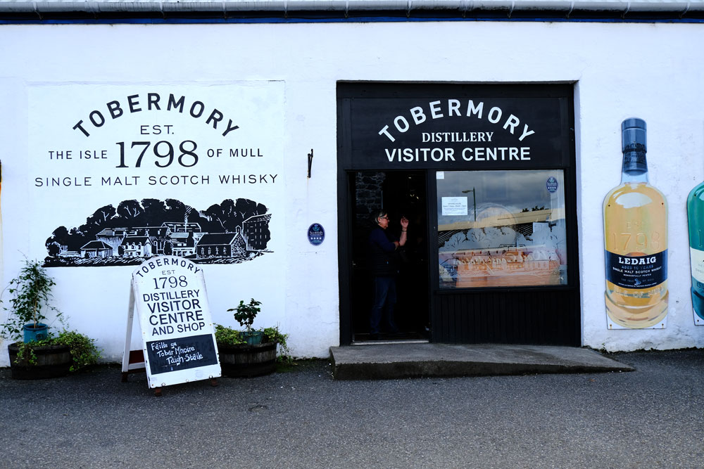 exterior of Tobermory distillery which is one of the best things to do in Tobermory mull on a rainy day