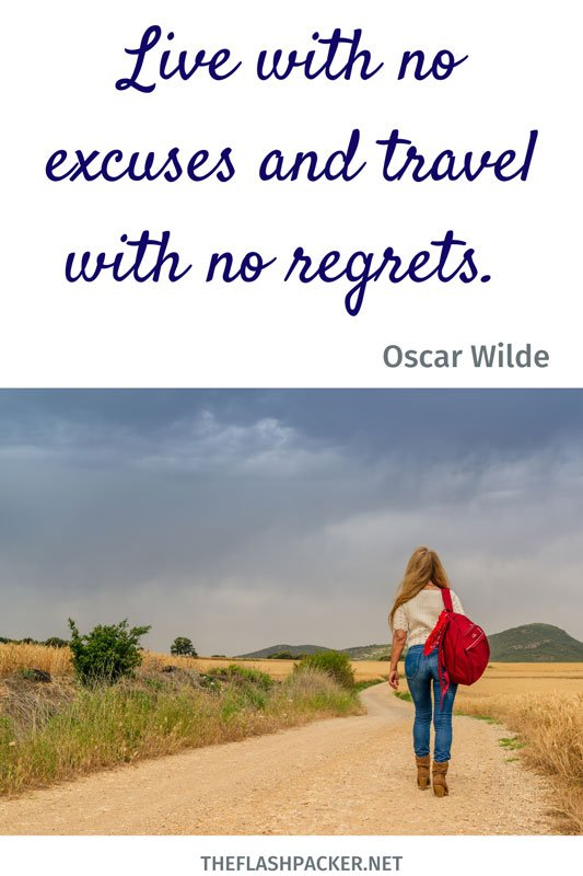 short travel quote with image of woman walking along empty path