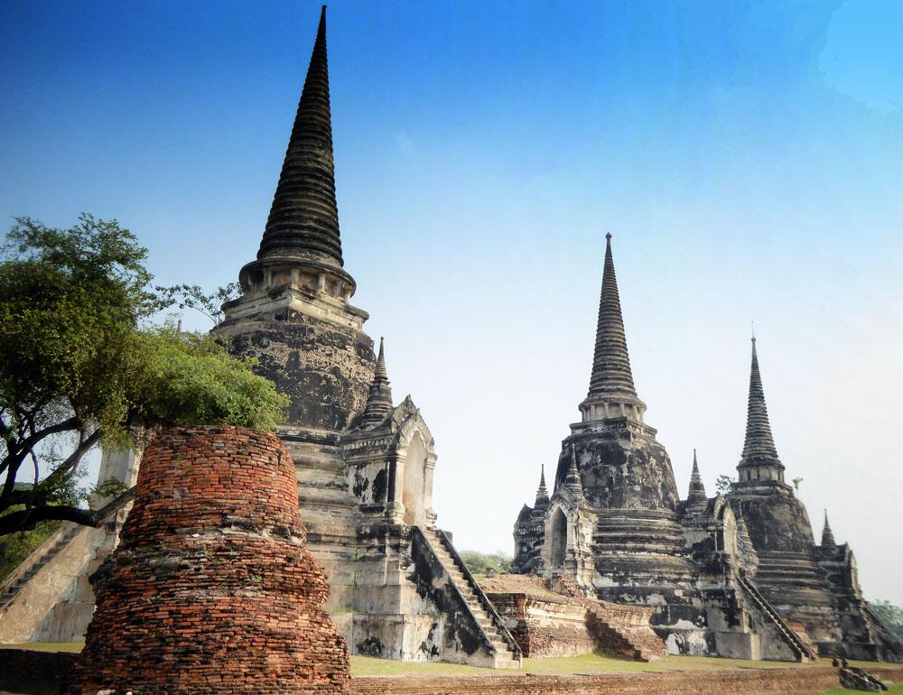 series of temple spires in ayutthaya thailand