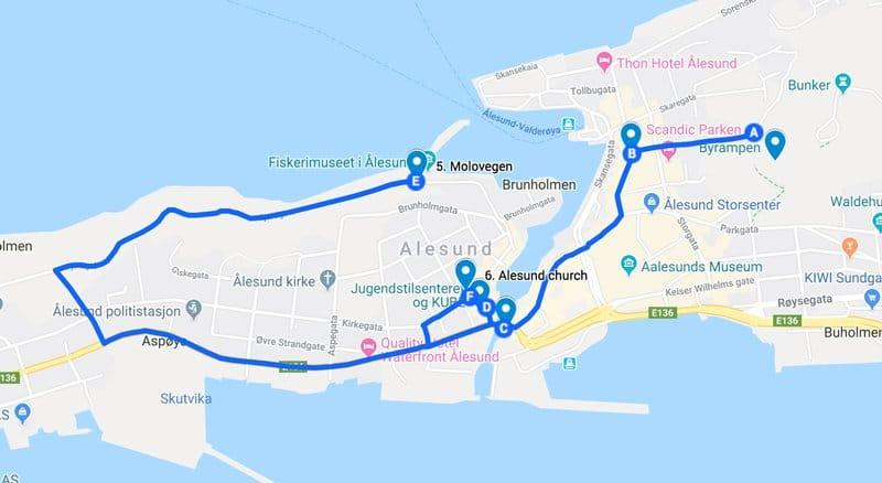 alesund norway self guided walking tour map