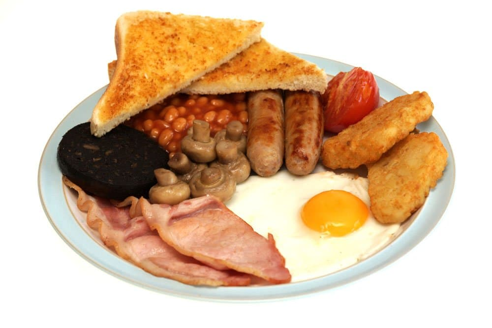 blue plate with full english breakfast which is one of the best foods in london