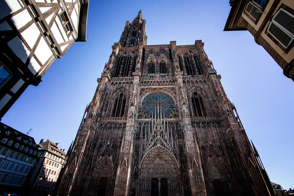 gothic facade of strasbourg cathedral