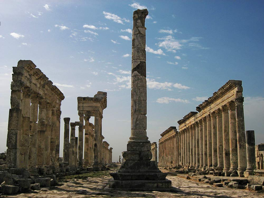 roman ruins of main road lined with corinthian columns