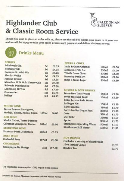 caledonian sleeper first class room menu