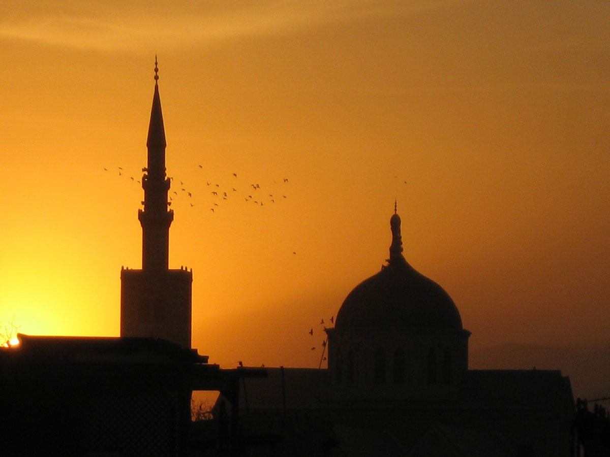 dome and minaret at sunset