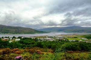 panoramic view of fort william with loch and mountains