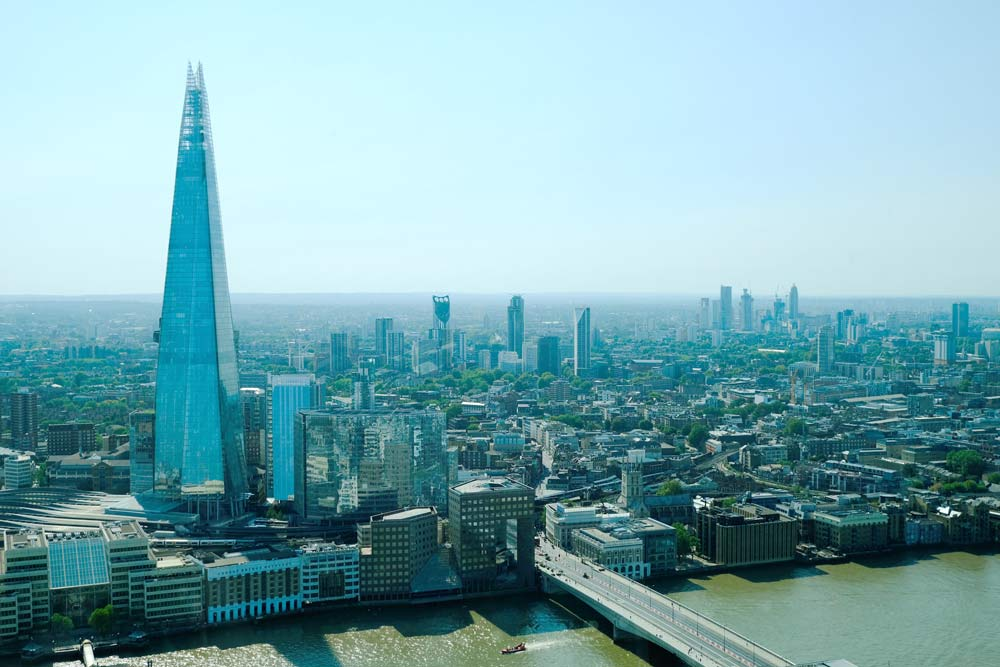 aerial view of river thames with pointy shard building