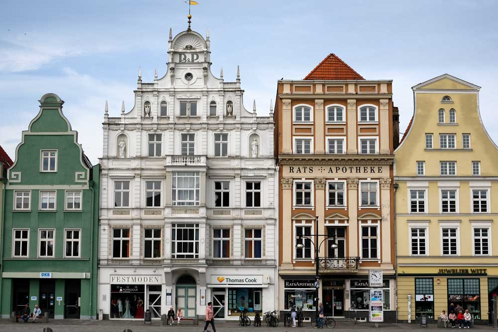 gabled house in main square in rostock germany