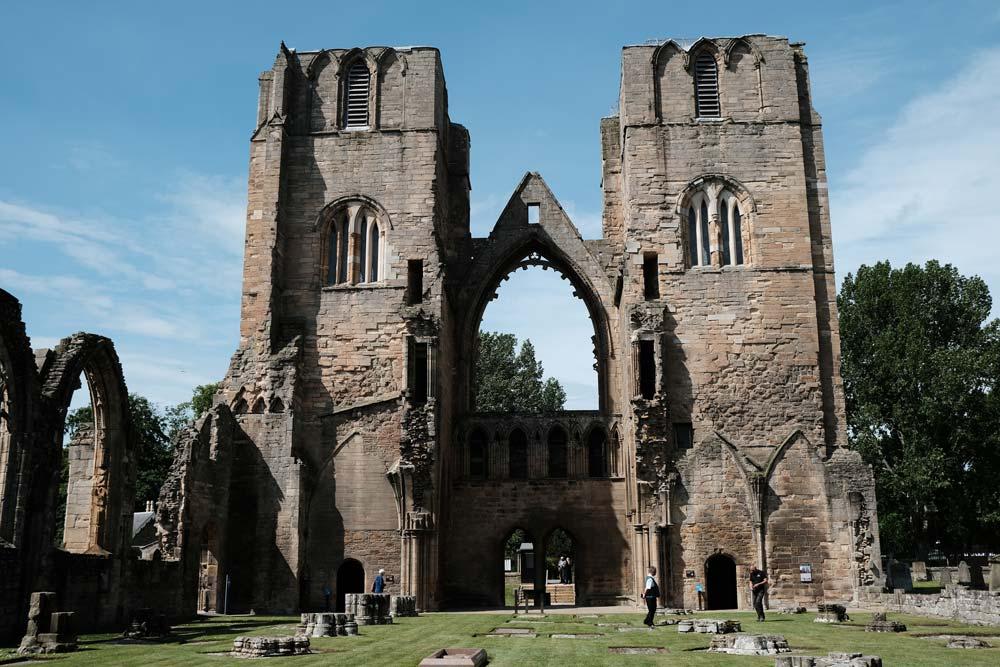 ruins of old church facade