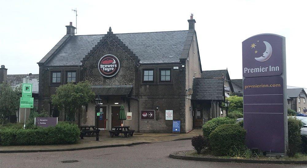 exterior of brewers fayre pub in fort william scotland