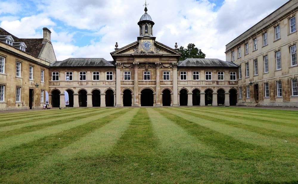 college buildings in cambridge around a grass quadrangle