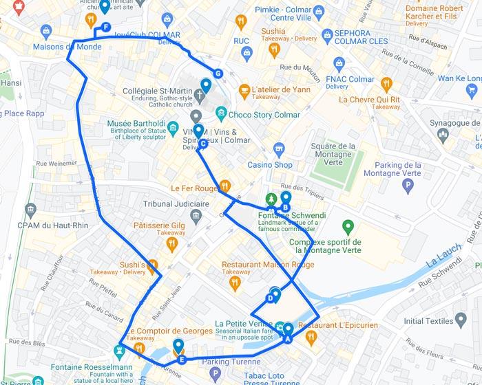 walking tour map of Colmar France